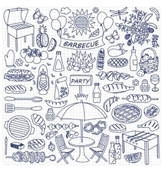 Barbecue party doodle set vector