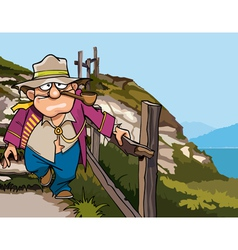 Cartoon pirate beggar down the stairs from vector