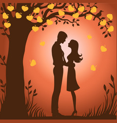 couple walks on nature sunset vector image vector image