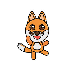 Drawing fox animal character vector