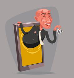 Evil devil businessman demon agent online mobile vector