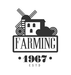 Farming estd 1967 logo black and white retro vector