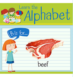 Flashcard letter b is for beef vector