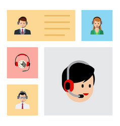 Flat center set of secretary operator hotline vector