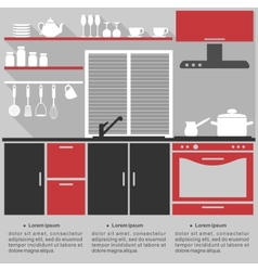 Flat infographic template for a kitchen interior vector image vector image