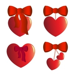 Four heart charms with bows vector image vector image
