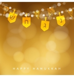 Hanukkah golden background with string of lights vector