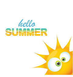 hello summer label with smiling shiny sun vector image