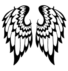 High quality wings tattoo isolated on white vector image vector image