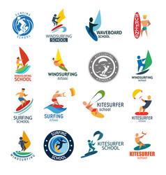 Kite surfing windserfing water sport club logo vector