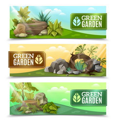 Landscape garden design horizontal banners set vector