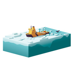 low poly icebreaker breaking the ice vector image vector image