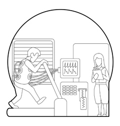 Medical testing person on treadmill concept vector