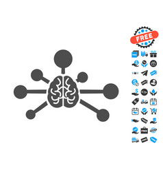 Mind control links flat icon with free bonus vector