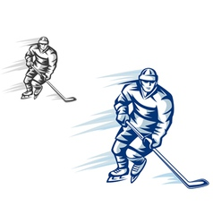 moving hockey player in retro silhouette style for vector image