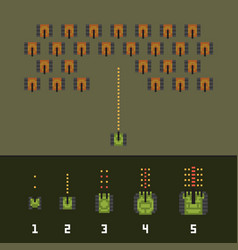 Pixel art style war and tank game upgrades vector
