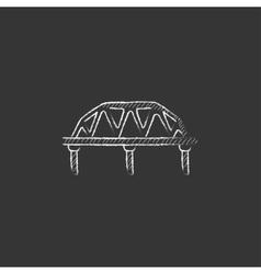 Rail way bridge drawn in chalk icon vector