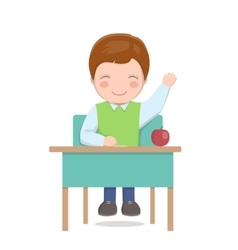 School boy sitting at desk isolated vector