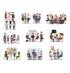 Set of business meeting in cartoon style flat vector