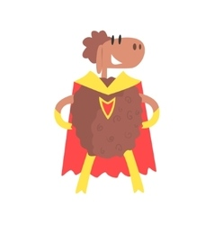Sheep smiling animal dressed as superhero with a vector