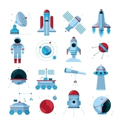 Spacecrafts Instruments Equipment Flat Icons Set vector image vector image