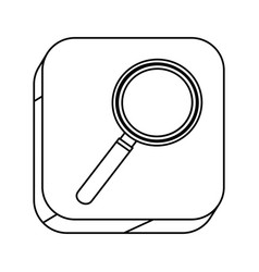 square silhouette button with contour magnifying vector image