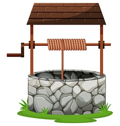 Stone well with rooftop vector