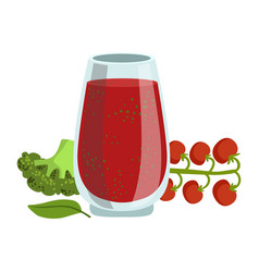 tomato and broccoli smoothie non-alcoholic fresh vector image vector image