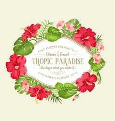 Tropical flower wreath vector