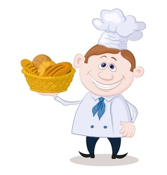 Baker with a basket of bread vector
