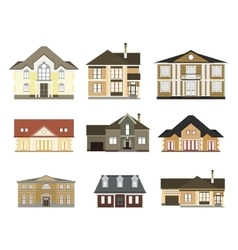 set of flat housescottages for infographics vector image