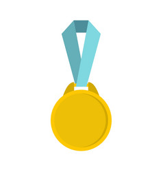 round medal with ribbon icon flat style vector image