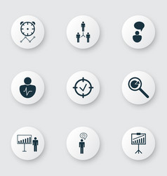 Set of 9 board icons includes opinion analysis vector