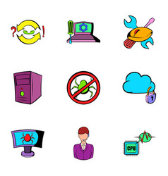Hacker icons set cartoon style vector