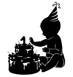 silhouette baby with cake first birthday vector image