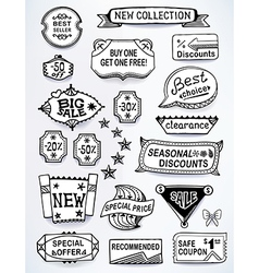 Black-white set of promotional english labels vector