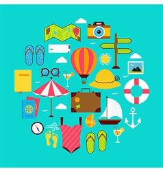 Flat summer vacation icon circle shaped set vector