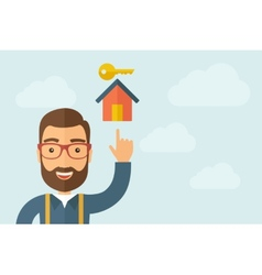 Man pointin the house with key icon vector
