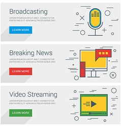 Broadcasting breaking news video streaming line vector
