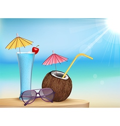 Summer beach juice glasses with young coconut vector image