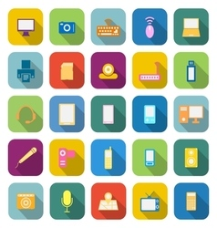 Gadget color icons with long shadow vector