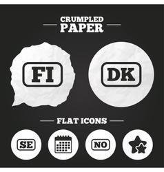 Language icons fi dk se and no translation vector