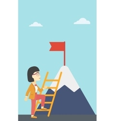 Business woman climbing on mountain vector