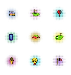 Active golf icons set pop-art style vector