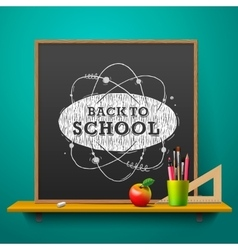 Back to school blackboard on the wall vector