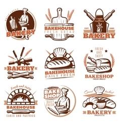 Bakery orange emblems set vector
