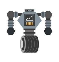 Big robot futuristic analytics screen wheel vector