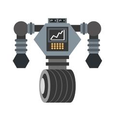 big robot futuristic analytics screen wheel vector image