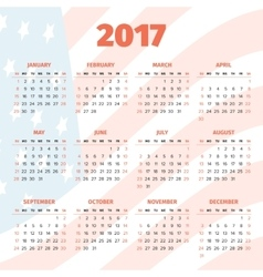 Calendar 2017 with usa flag background vector