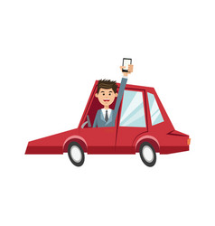 Character man in red car with mobile phone vector